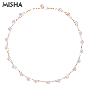 MISHA NEW Luxury Pearl Necklace Women Ladies High Quality Natural Pearl Necklace Wedding Birthday Gifts 2372