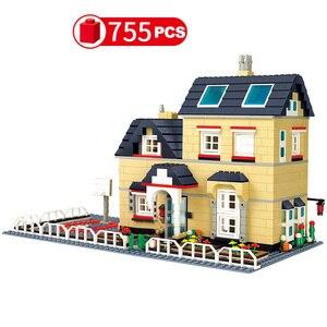Image 5 - Stad Architectuur Villa Huisje Model Bouwstenen Compatibel Vrienden Strand Hut Modulaire Huis Dorp Bouw Speelgoed