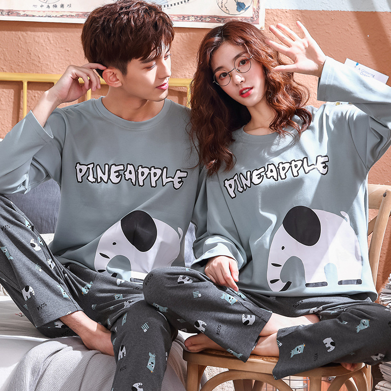 Couple Animal Pajamas Sets Summer Men Pyjamas Women Long Sleeve 100% Full Cotton Casual Sleepwear Suit Big Size Homewear Pyjama