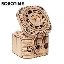 Robotime الإبداعية لتقوم بها بنفسك ثلاثية الأبعاد صندوق خزانة المجوهرات خشبية لغز لعبة مجوهرات صندوق تخزين الجمعية لعبة هدية للأطفال المراهقين LK502