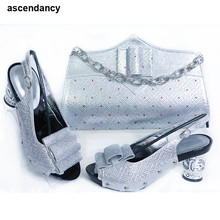 Shoe-Bag-Set Italian-Shoes Matching-Bags Rhinestone Wedding-Italy Party PU with for Latest-Design