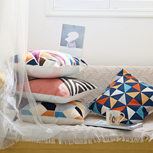 Simple Nordic Embroidery Pillow Cover Colorful Geometric Canvas Cotton Square Cushion Cover Sofa Bedroom Decoration Pillowcase цены