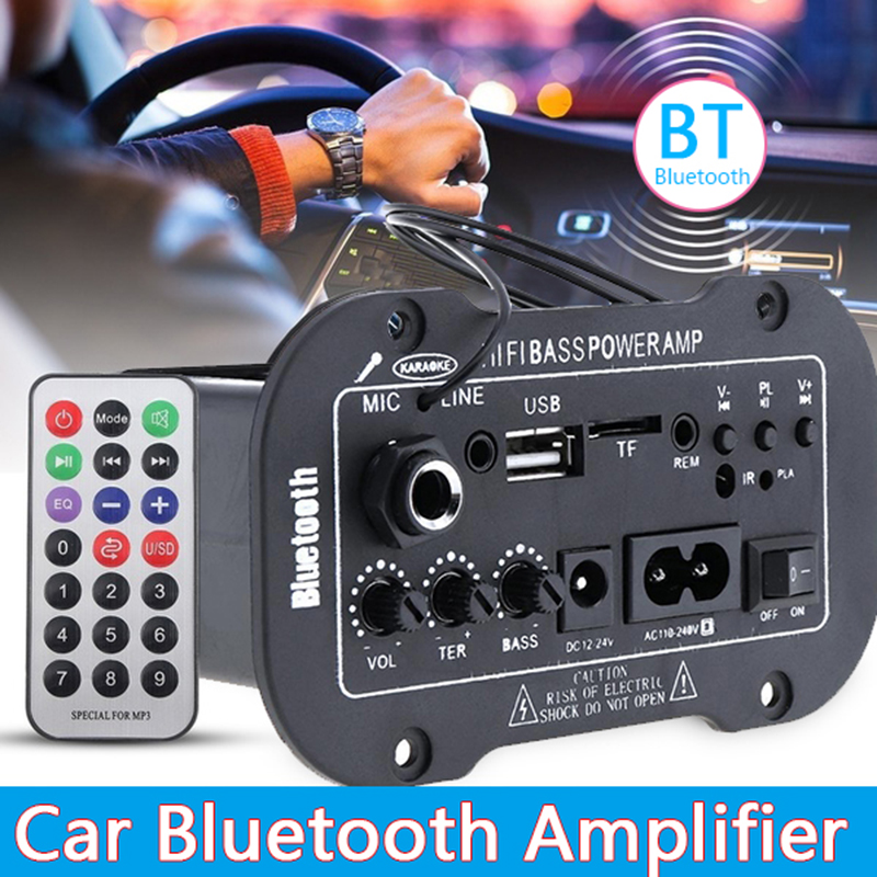 HIFI 5Inch In-dash Bluetooth Bass Power Car Amplifier AMP MIC SD USB DVD IN 12V 24V 220V Power AMP MP3 USB TF MIC Remote Control