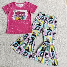 Nowe zestawy ubrań dla niemowląt różowy list drukuj koszula z krótkim rękawem spodnie dzwony 2 kawałki zestawy Fashional Hot zestaw ubrań dla dzieci tanie tanio RED HEART COTTON spandex Dziewczyny W wieku 0-6m 7-12m 13-24m 25-36m 4-6y 7-12y 12 + y moda CN (pochodzenie) Lato Z okrągłym kołnierzykiem