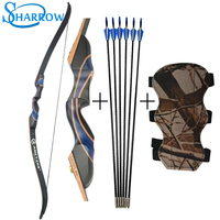 56inch Archery Recurve Bow Tranditional LongBow With Arm Guard and 6pcs 31inch Fiberglass Arrow Slingshot Hunting Shooting