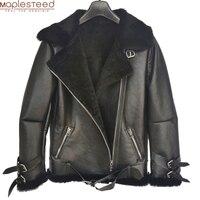 Mode Lammfell Pelzmantel Winter Warme 100% Weichen Schaffell Wolle Jacke Frauen Lammfell Jacke Weiblichen Mantel Plus Größe M370