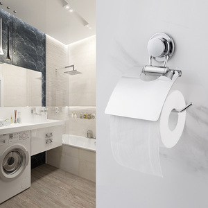 Image 5 - smartloc Stainless Steel Suction Cup Wall Mounted Paper Holder Rack WC Toilet Tissue Storage Shelf Bathroom Accessories