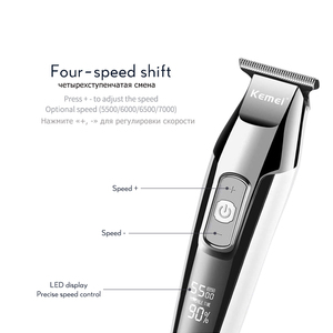 Image 4 - Kemei Rechargeable Hair Clipper for Men Professional  Electric Hair Trimmer Razor LCD Display Hair Cutting Machine Hair Cutter