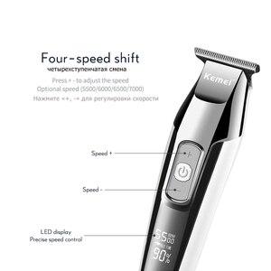 Image 4 - Kemei recarregável máquina de cortar cabelo para homens profissional aparador de cabelo elétrico navalha display lcd máquina de corte de cabelo cortador de cabelo