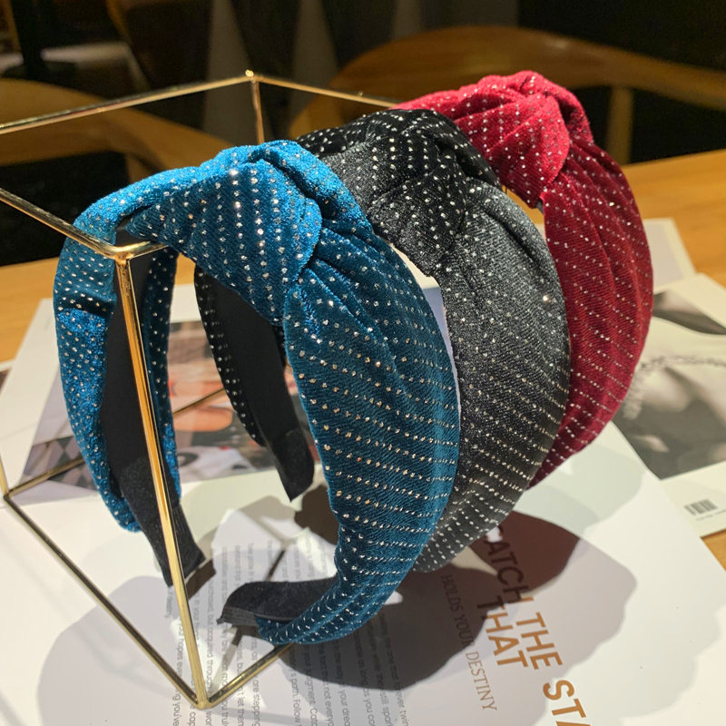 Xugar Velvet Knot Headbands for Women Girl Solid Color Small Rhinestone Hairband Hair Accessories