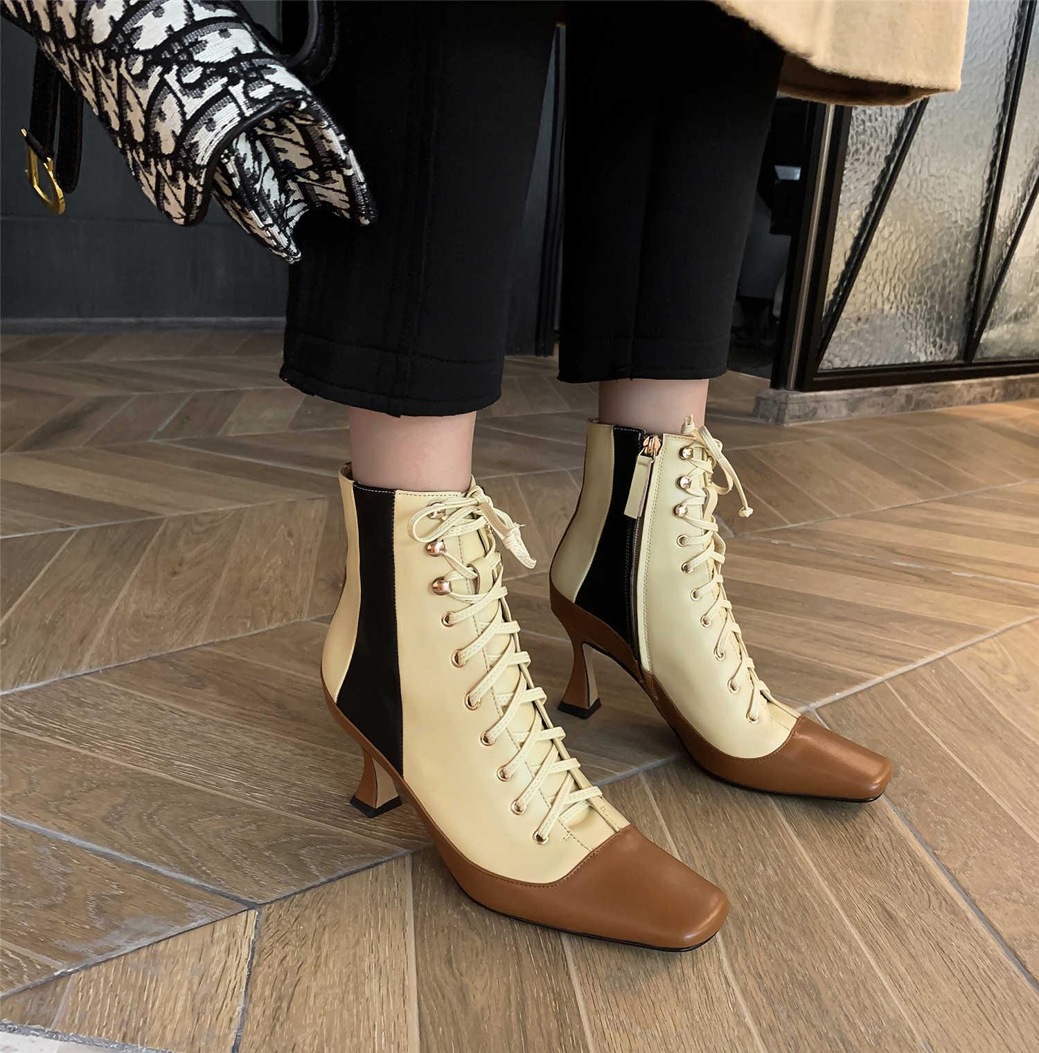 2019 sonbahar avrupa ve amerika birleşik devletleri yeni kadın kare kafa yüksek topuklu çıplak çizmeler fermuar çizmeler