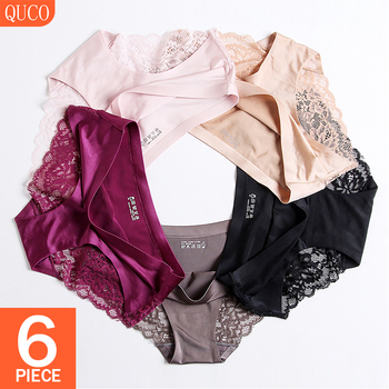 QUCO Brand 6 Pcs/lot Sexy Women Panties Women's Underwear Lace Lingerie Sexy String Comfortable Thong Breathable Calvin Briefs