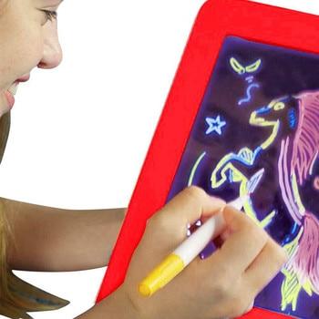 3D magia tabliczka do rysowania Luminous tablica do pisania 3D szkicownik Tablet magiczna podkładka blask rysunek artystyczny zabawki rozwój mózgu zabawki