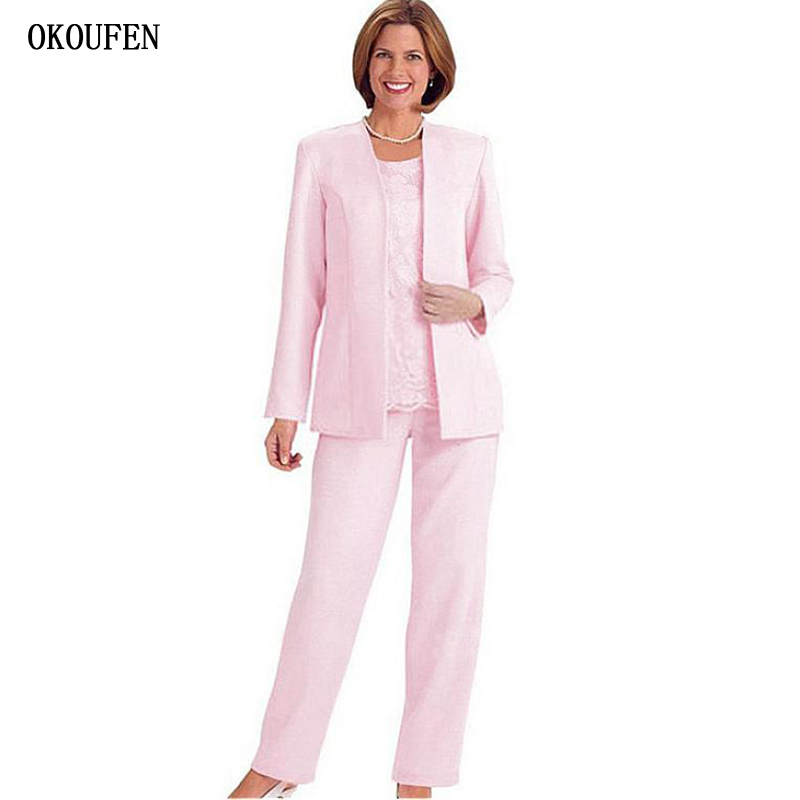 Pink Mother Of The Bride Dresses For Weddings Kurti With Jacket Formal Pant Suits Women Outfits Vestidos De Madrinha Farsali