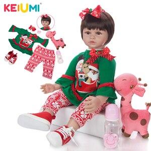 KEIUMI Short Hair Princess Reborn Baby Dolls Soft Silicone Bebe Reborn Dolls Toy Gifts To Children's Birthday Surprise(China)
