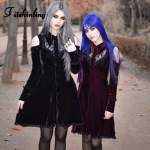 Fitshinling Open Shoulder Short Dresses For Women Gothic Lace Up Patchwork Velvet Dress Winter Sexy Goth Dark Harajuku Vestido