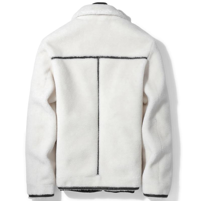 Real Fur Coat Men Sheep Shearing 100% Wool Coat White Autumn Winter Jacket Mens Clothing Short Jacket D-91-8002KJ1139