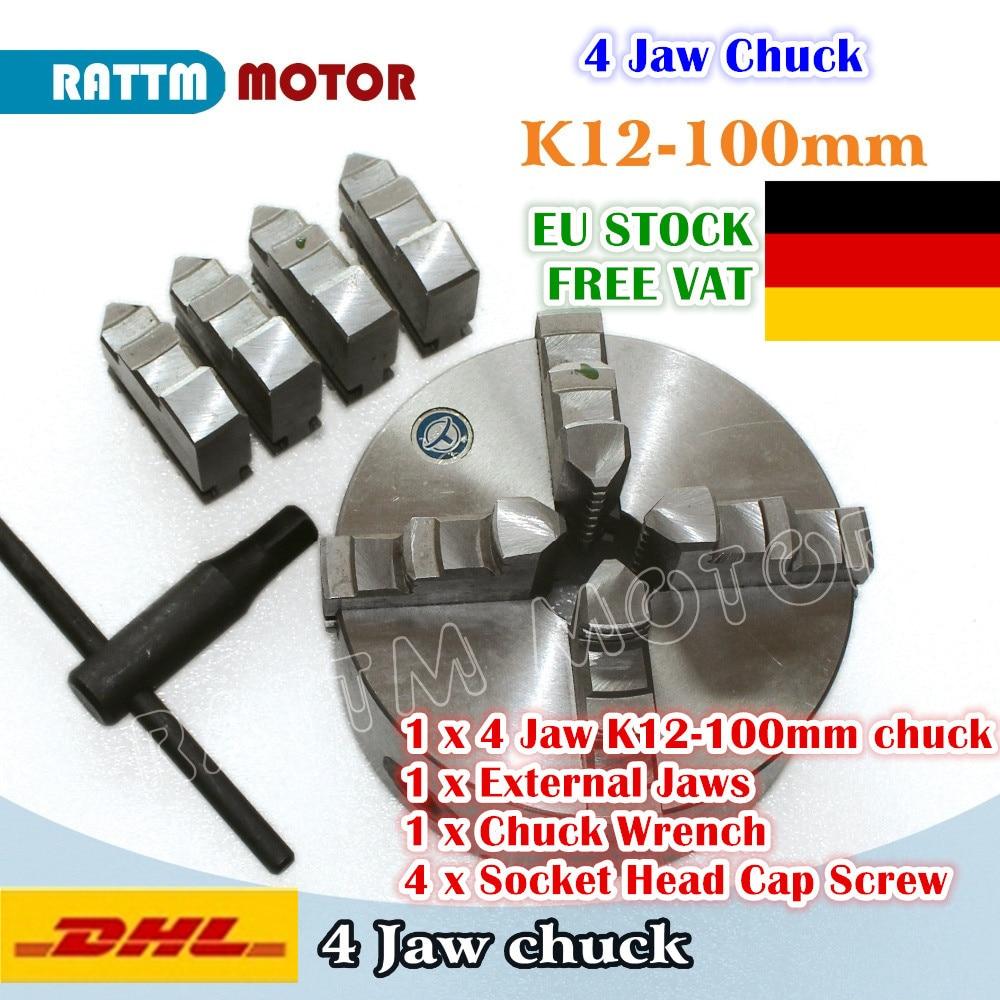 [ЕС по доставке] 4 нижними зажимами K12-100mm ручной патрон Самоцентрирующийся зажимной инструмент станка с числовым программным управлением то...