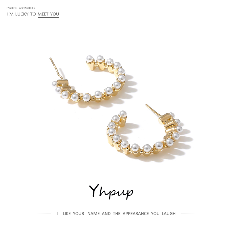 Yhpup Imitation Pearls Stud Earrings Brand 16 K Temperament Statement Charm Earrings Oorbellen boucles <font><b>d</b></font> oreille femme <font><b>2019</b></font> S925 image