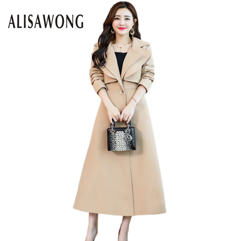 Fashion Women Medium Long Windbreaker 2019 New Spring Autumn Elegant Ladies Slim With Belt Korea Style   Trench   Coat