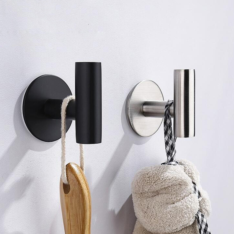 Wall-Mounted Stainless Steel Door Hook Towel Clothes Hat Holder For Bathroom Home Storage Decoration Bathroom Accessories