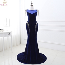 Elegant Royal Blue Evening Gowns with Beads Sequin Mermaid vestido manga longa Velvet Lace Up back Party Gown Formal Dress Stock stock size royal blue birthday party formal occasion gowns little girls dress