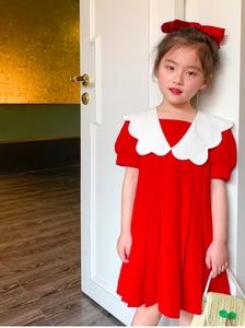 Детская одежда, лето 2020, новое милое кружевное платье с воротником и отворотом для девочек