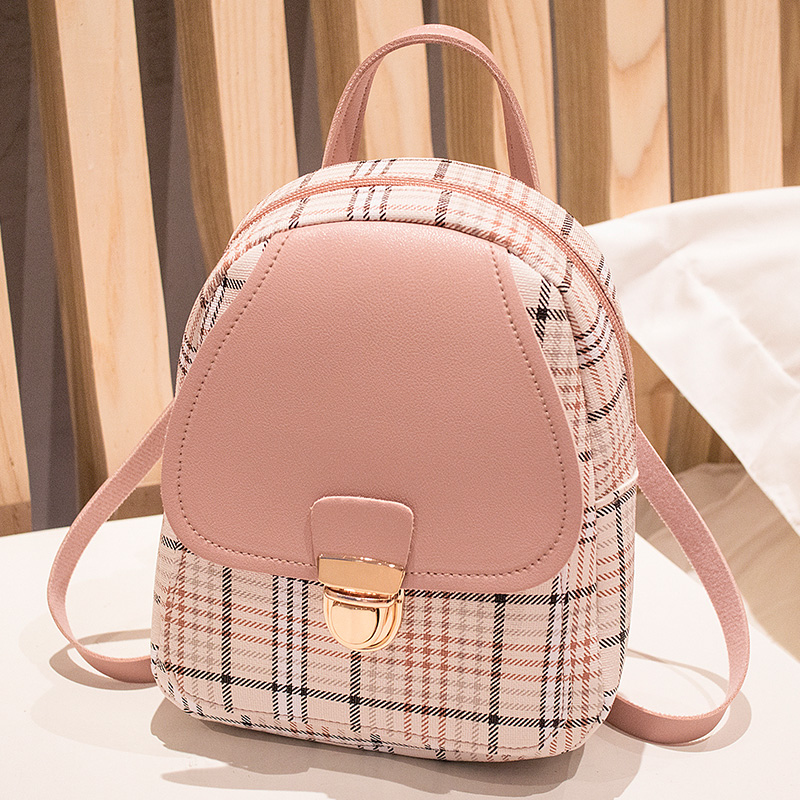 Fashion Multifunction Women Backpack Cute Lattice Printing Small Back Pack Ladies PU Leather Shoulder Chest Bag Girls School Bag