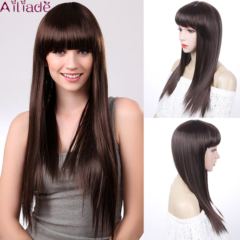 AILIADE Long Straight Wigs For Black Women African American Synthetic Hair Dark Brown Wigs With Bangs Heat Resistant Wig