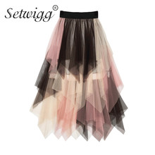 SETWIGG Sweet Multi color Tulle Patchwork Long Irregular Skirts Elastic Waist Band A line Colored Mesh Pleated Mid calf Skirts
