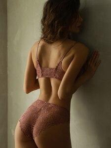 Image 2 - Wriufred סקסי חזיית תחתוני סט קדמי אבזם חזיית סט תחרה המעודנת רקמת V העמוק הלבשה תחתונה תחתוני סטים
