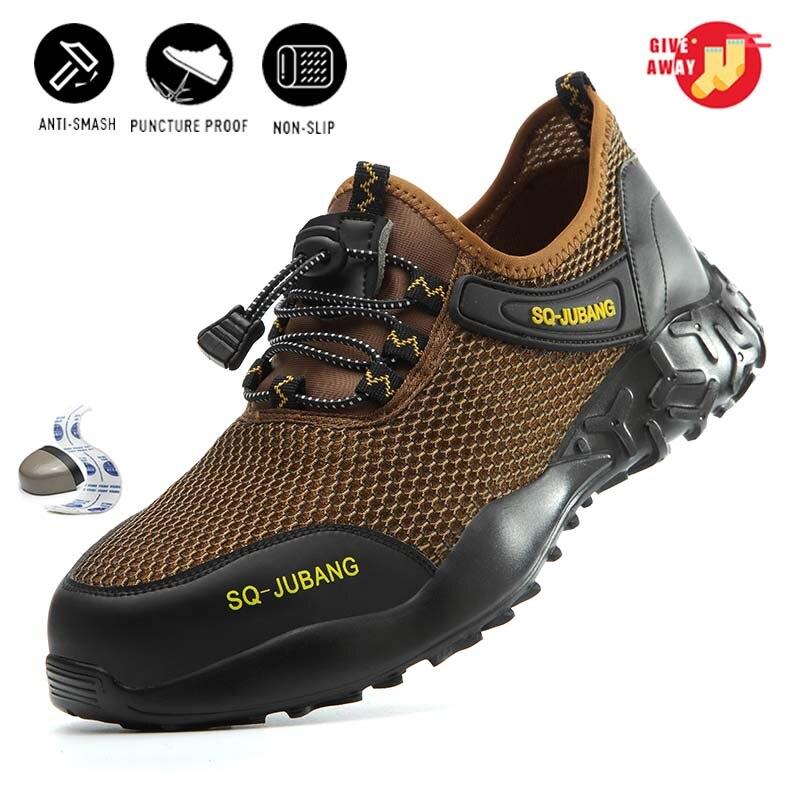 Летняя дышащая мужская рабочая обувь для женщин 2020, защитная обувь со стальным носком, промежуточная подошва из кевлара, уличные кроссовки lekkie buty robocze|Защитная обувь|   | АлиЭкспресс