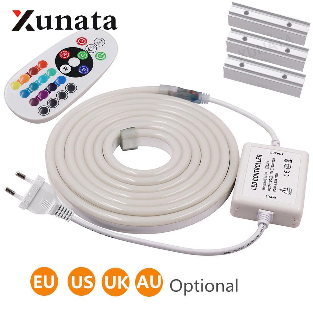 220V 110V RGB Neon Sign Light Lamp Flexible LED Neon Rope Light With IR Remote Indoor Outdoor For Holiday Party Valentine Decor