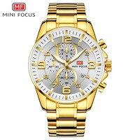 Minifocus Fox Mf0278g Men Large Dial Multi functional Night Light Quartz Business Steel Watch