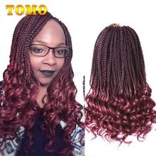 TOMO, 22 корня, кудрявые концевые коробки, косички, вязанные волосы, 14, 18, 24 дюйма, вязанные крючком косички с волнистым концом, синтетические косички для наращивания волос