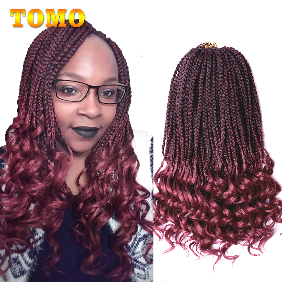 TOMO 22Roots Curly End Box Braids Crochet Hair 14 18 24 Inch Crochet Braids With Wave End Synthetic Braiding Hair Extensions