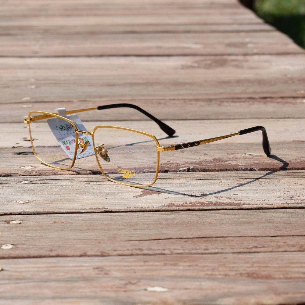 18K Gold Pure Titanium Eyeglass Frames Square Full Rim Men Rx able Optical Myopia Glasses Spectacles