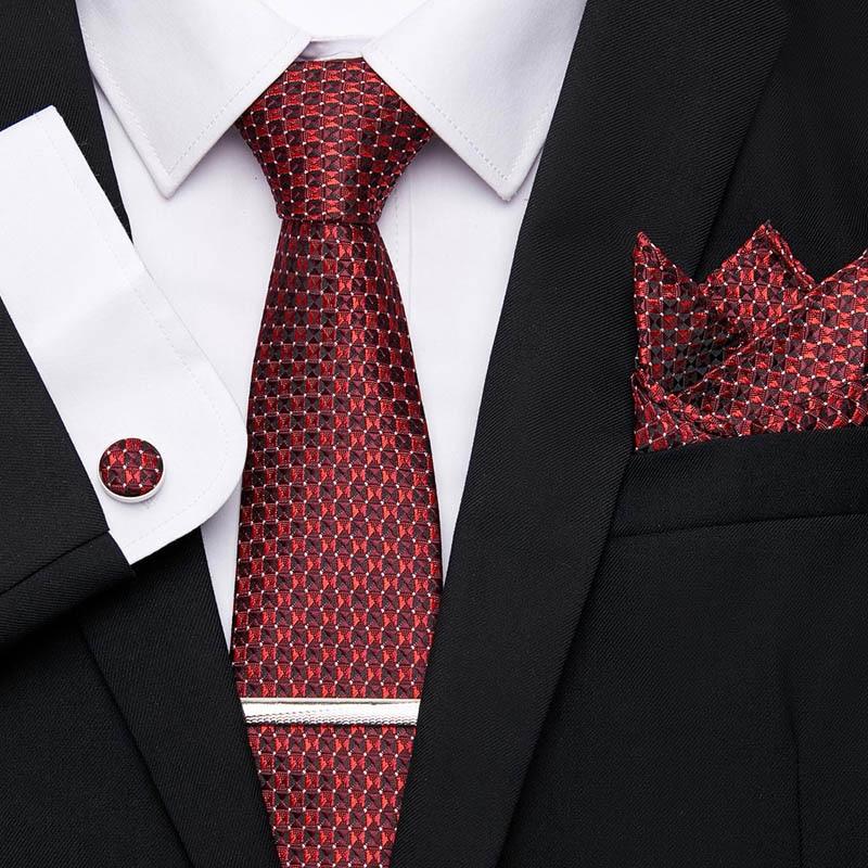 Necktie  Hanky Cufflinks Tie Clips Set For Men Formal Wedding Party Neckties Man For Tie Floral 100% Silk Business Jacquard Gift