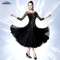 DOUBL Modern Ballroom dance competition dresses New Long Sleeve Dress National Standard Dance for Tango Waltz Performing Diamond