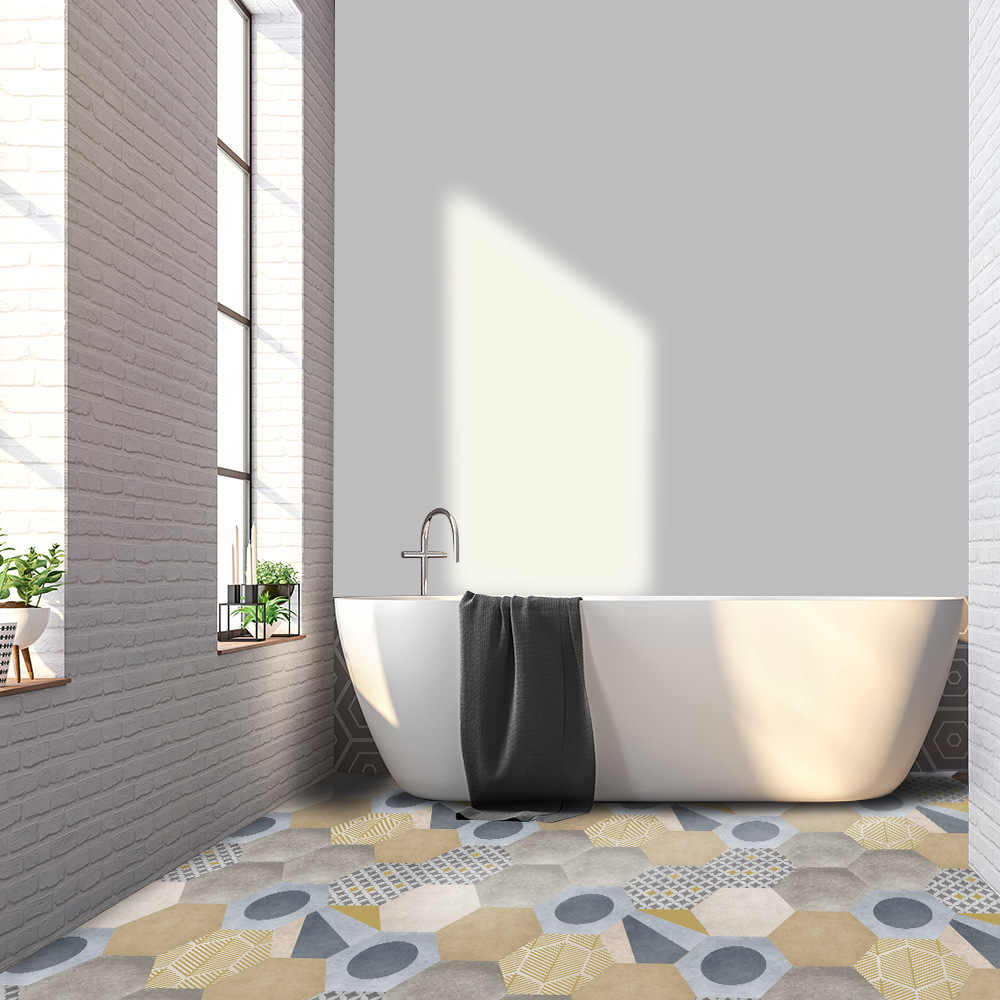 Funlife Waterdichte Vloer Sticker Gekleurde Cement Zelfklevende Decoratieve Floor Decal Anti Skid Voor Badkamer Keuken Tegel Decor Wall Stickers Aliexpress