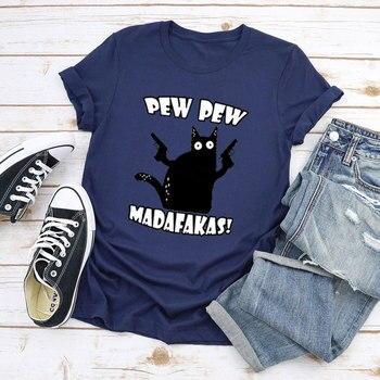 printio плакат a3 29 7x42 pew pew pew хан соло Funny Cat Pew Pew Madafakas Mens Funny Cat Graphic Men's Short Sleeve Sport 100% Cotton T-ShirtMens Streetwear Womens tees Gifts