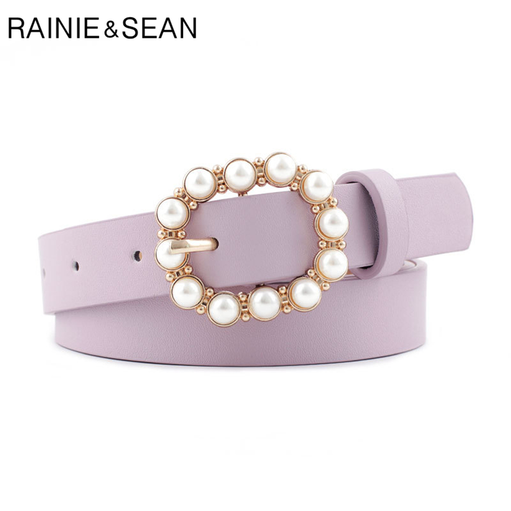 RAINIE SEAN Pearl Belt Women Pu Leather Fashion Woman Belt For Jeans Purple Ladies Pin Buckle Straps Girls Fashion Accessories