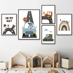 Wall Art Canvas Painting Nursery Baby Car Track Cartoon World Nordic Posters And Prints Wall Pictures For Kids Room Bedroom Home