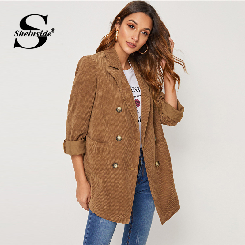Sheinside Casual Camel Double Button Corduroy Outerwear New Arrivals Women's Sheinside Collection