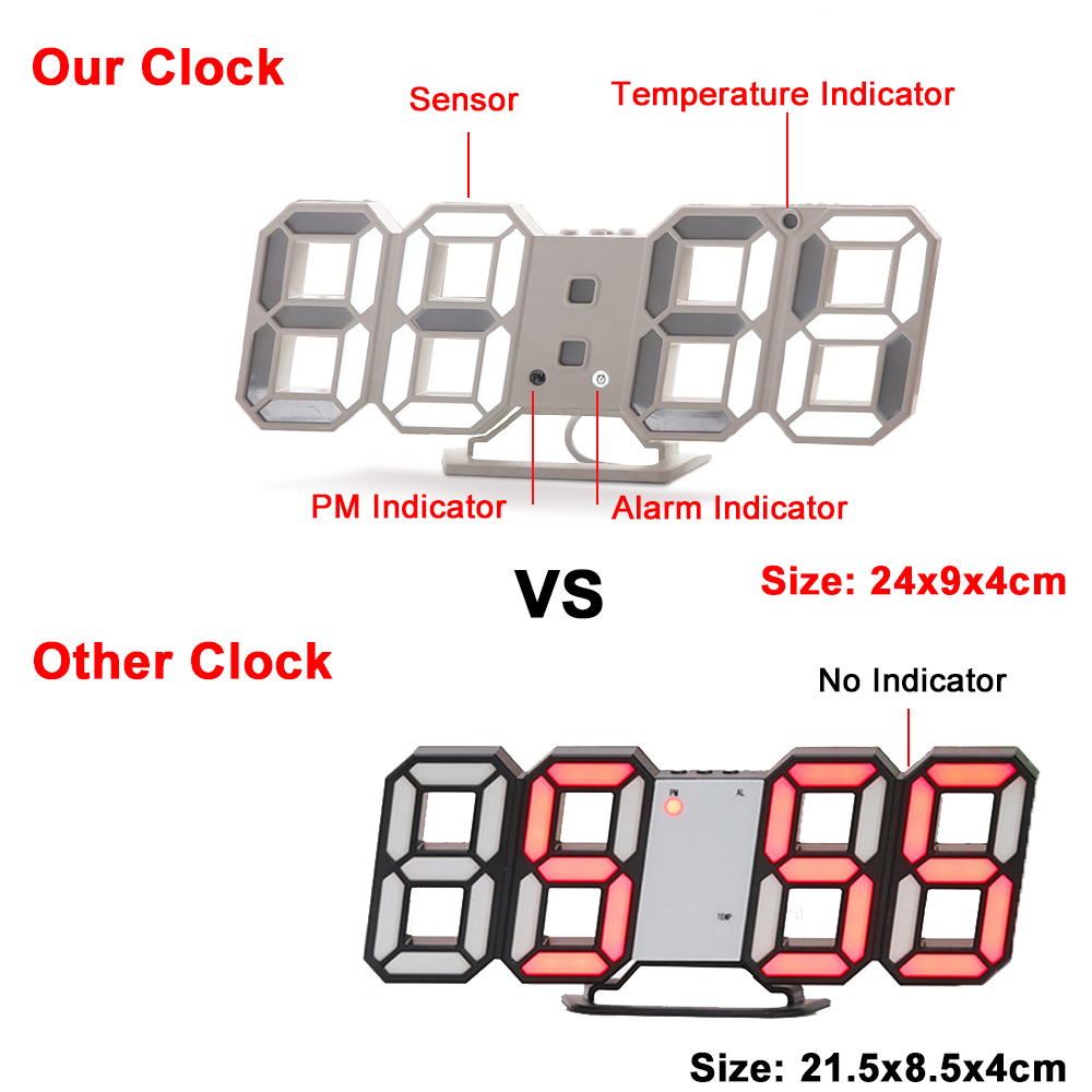 Image 5 - Digital Wall Clock 3D LED Alarm Clock Electronic Desk Clocks with Large Temperature 12/24 Hour Display-in Wall Clocks from Home & Garden