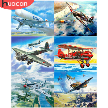 HUACAN Paint By Number Aircraft Drawing On Canvas Hand Painted Paintings Gift DIY Pictures By Numbers Scenery Kits Home Decor