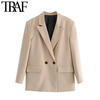 TRAF Women Fashion Double Breasted Loose Fitting Blazer Coat Vintage Long Sleeve Pockets Female Outerwear Chic Tops