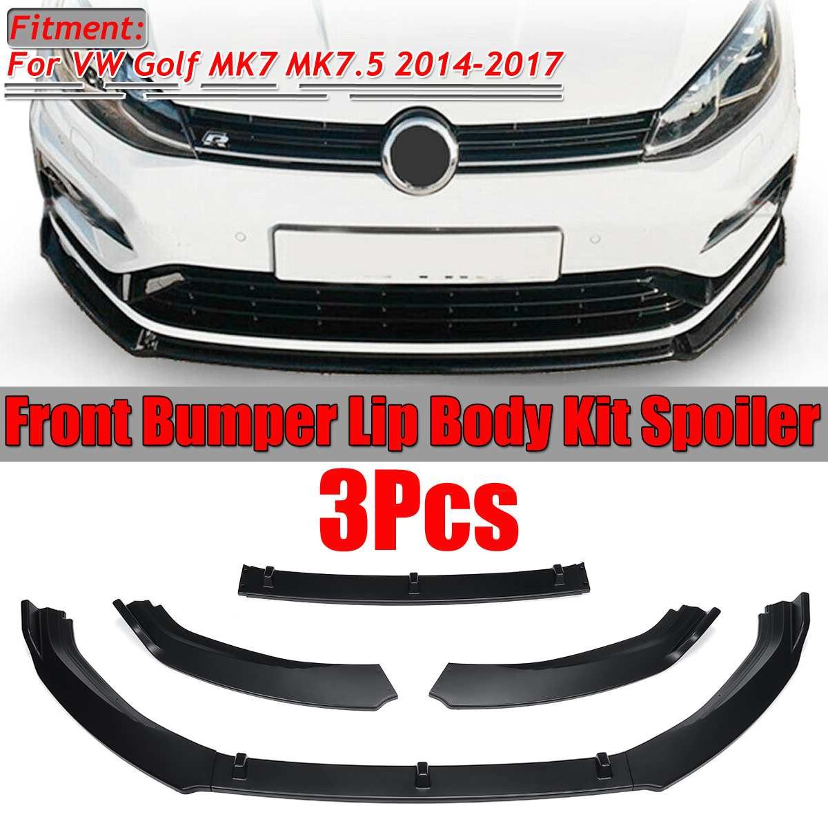 3PCS Car Front Bumper Splitter Lip Spoiler Diffuser Protector Guard Cover Trim For VW For Golf MK7 MK7.5 2014 2015 2016 2017