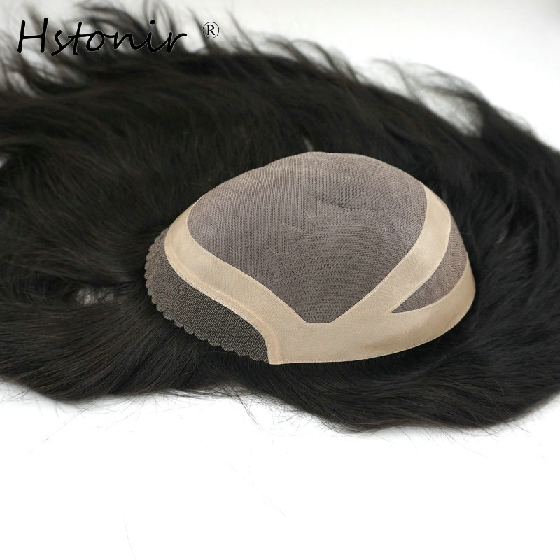 Hstonir Natural Looking Women Toupee Remy Hair Piece Accessories Lace Closure Hair Decoration TP12