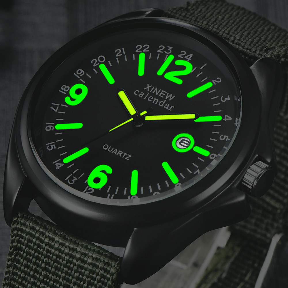 Military Mens Quartz Army Watch Black Dial Date Luxury Sport Wrist Watch Male Luminous Watches Top Brand Relogio Masculino image